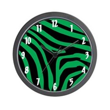 Green Zebra Wall Clock
