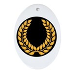 Black with Gold laurel Oval Ornament