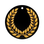 Black with Gold laurel Ornament (Round)
