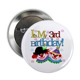 Clown 3rd Birthday Button