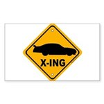Stock Car X-ing Rectangle Sticker 10 pk)