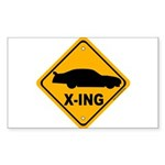 Stock Car X-ing Rectangle Sticker 50 pk)