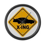 Stock Car X-ing Large Wall Clock