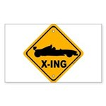 Race Car X-ing Rectangle Sticker 10 pk)