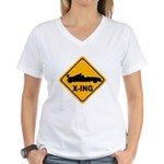 Race Car X-ing Women's V-Neck T-Shirt
