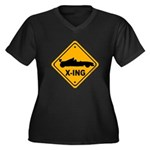 Race Car X-ing Women's Plus Size V-Neck Dark T-Shi