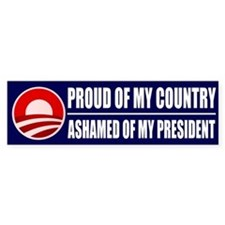 Ashamed Of Obama Bumper Bumper Sticker