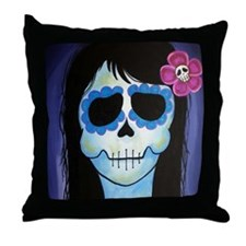 La Blue Verte Throw Pillow
