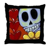 Calavera Hearts & Flowers Throw Pillow