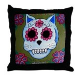 El Gato Sugar Skull Throw Pillow