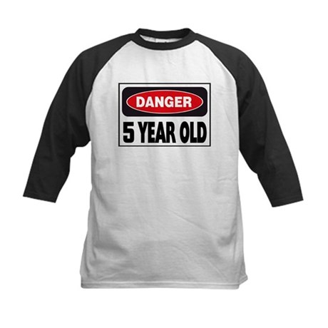 5 Year Old Danger Sign Kids Baseball Jersey