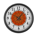 Orange Guiding Star 2 Large Wall Clock
