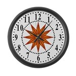 Orange Guiding Star 1 Large Wall Clock