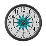 Cyan Guiding Star 1 Large Wall Clock