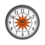 Orange Guiding Star 1 Wall Clock