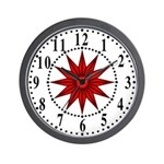 Red Guiding Star 1 Wall Clock