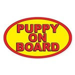 Puppy on board Oval Sticker (10 pk)