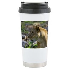 Lioness Looking Left Ceramic Travel Mug