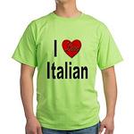 I Love Italian Green T-Shirt