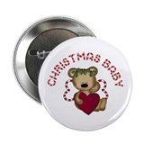 "Christmas Baby Teddy Bear 2.25"" Button"