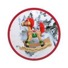 Christmas Rocking Horse Ornament (Round)