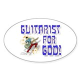 Christian Guitar For God Oval Decal
