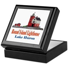Cute Round island lighthouse Keepsake Box