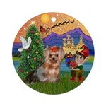 Yorkie Fantasy Christmas Ornament (Round)