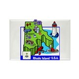 Rhode Island Map Rectangle Magnet