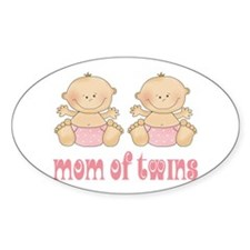 Mom Of Twin Girls Oval Decal