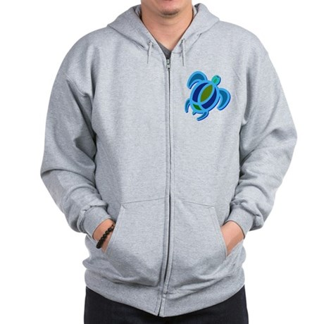 Blue Sea Turtle Zip Hoodie