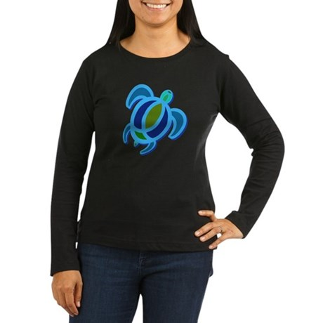 Blue Sea Turtle Women's Long Sleeve Dark T-Shirt