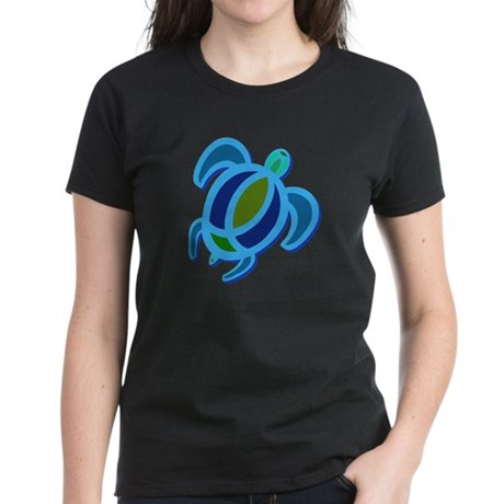 Blue Sea Turtle Women's Dark T-Shirt