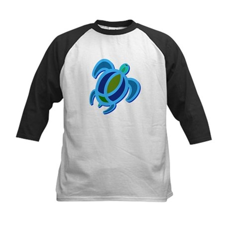 Blue Sea Turtle Kids Baseball Jersey