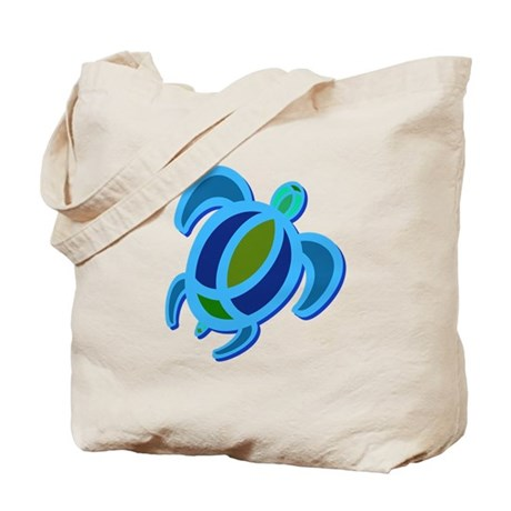 Blue Sea Turtle Tote Bag