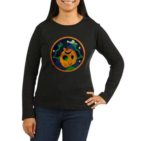 Alien Jack O Lantern Women's Long Sleeve Dark T-Sh