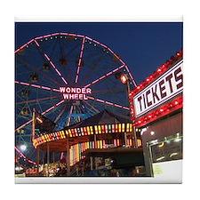 Wonder Wheel at Night Tile Coaster