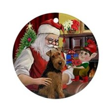 Santa's Welsh Terrier Ornament (Round)