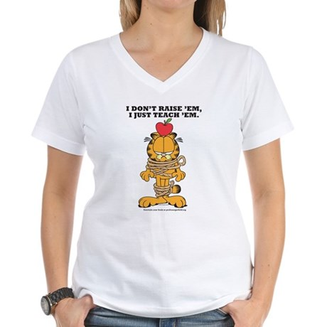 Teach 'em Garfield Women's V-Neck T-Shirt