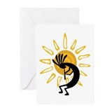 Hopi Kokopelli Gold Greeting Cards (Pk of 10)