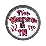 The Nurse Is IN (rose / pink) Wall Clock