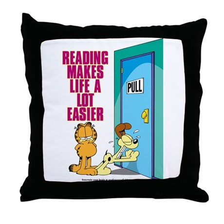 Reading Makes Life Easier Throw Pillow