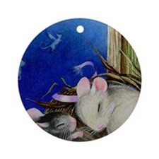 Mice in a Nest Christmas Ornament (Round)