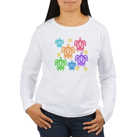 Distressed Rainbow Turtles Women's Long Sleeve T-S