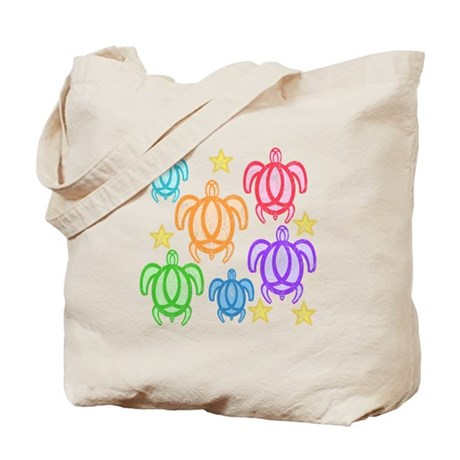 Distressed Rainbow Turtles Tote Bag