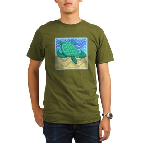 Turtle On Beach Organic Men's T-Shirt (dark)