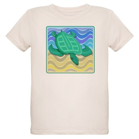 Turtle On Beach Organic Kids T-Shirt