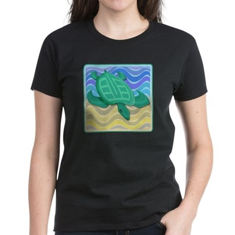 Turtle On Beach Women's Dark T-Shirt