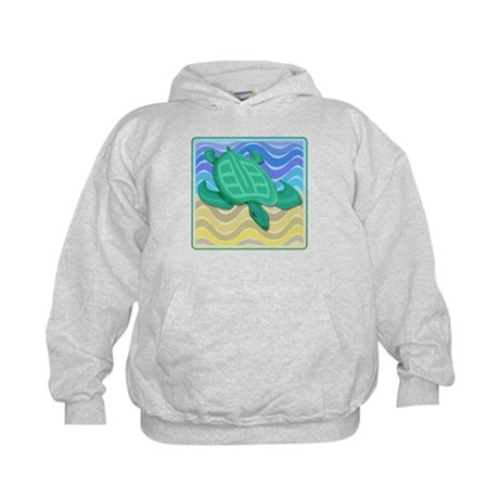 Turtle On Beach Kids Hoodie