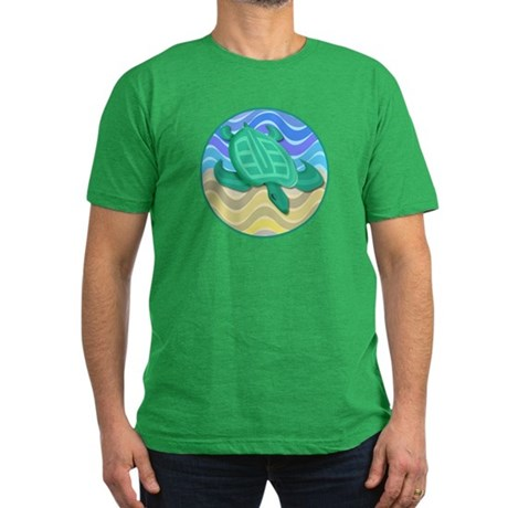 Turtle On Beach Men's Fitted T-Shirt (dark)